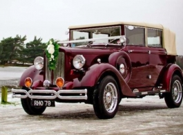 Burgundy vintage wedding car hire in Poole
